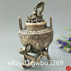 Old Chinese antiques Hand carving Tibetan Silver double Dragon Incense burner
