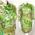 VINTAGE 60s 70s CREAM GREEN YELLOW PURPLE PSYCHEDELIC BIRD FLORAL DRESS 8