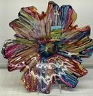 Pink Blue Glass Luster Floral Decorative Bowl Platter Dish Luster 15 Italy New