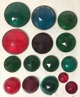 LOT 15 VTG RED GREEN BLUE GLASS CATS EYE REFLECTOR WARNING SIGN JEWELS FACETED