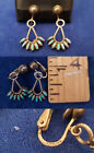 Native American Zuni Sterling Silver Needlepoint Turquoise Clip On Earrings e123