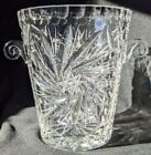 Vintage Quality Crystal Ice Bucket Bowl Etched 8 Point Star Swirl Knob Handles