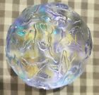 Robin Lehman cast glass paperweight clear with flying bird pattern dated 16