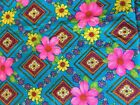 Vintage FLOWER POWER Retro Tropical Hawaiian Fabric 2  Yd MCM Turquoise Pink