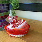 Vintage WESTMORELAND Cat Kitten Basket Slag Colored Glass Coral Orange Red White