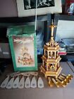 Wooden Carousel Candle Holder Nativity Windmill Christmas Pyramid 3 Tier
