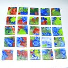 25 Hand Enameled 1 Square Cut Glass Mosaic Tiles by Ray Lapsys