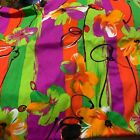 Vintage 60s FLOWER POWER Stripe and Floral Bright Acrylic FABRIC 44 x 25 Yard