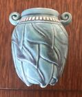 FOXLO POTTERY CALIFORNIA Hand Incised Turquoise Cabinet Vase 2010 EUC