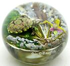 LARGE Fantastic JIM DONOFRIO Colorful TURTLE Pond ORCHID Art Glass PAPERWEIGHT