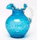 VTG 1950s Fenton Blue Glass Coin Dot Ruffled Fluted Edge Pitcher w Clear Handle