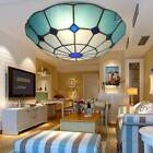Blue Retro Tiffany Style Stained Glass Flush Mount Ceiling Lamp Light Fixture