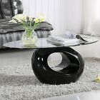 Oval Glass Coffee Table with Round Hollow Base End Side Coffee Table Black