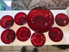 Anchor Hocking Vintage Ruby glass Berry set Large bowl and 7 small bowls