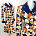 VINTAGE 60s 70s BLUE WHITE ORANGE YELLOW CHECKERBOARD FLORAL SHIRT DRESS 16 18
