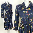 VINTAGE 60s 70s BLUE RED YELLOW FLORAL DAGGER COLLAR BELTED SHIRT DRESS 12 14