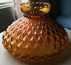 LARGE VINTAGE AMBER GLASS LAMP SHADE QUILTED PATTERN