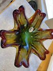 Handmade Venetian Glass Bowl Beautiful Red Green And Yellows Made In Italy