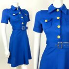 VINTAGE 60s 70s BRIGHT BLUE YELLOW DAGGER COLLAR BELTED MOD SHIRT DRESS 6