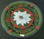 Peggy Karr Glass Christmas White Poinsettia 14 Round Plate NEW Signed Made USA
