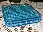 SET 3 Vintage Fenton French Blue Opalescent Hobnail Square Plates Excellent 55