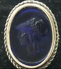 Tagliamonte Sterling Silver Ring Cobalt Blue Venetian Glass Cameo 18k Gold SZ 6