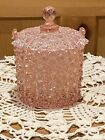 Fenton Pink Daisy  Button Glass Covered Candy Jar Ice Bucket