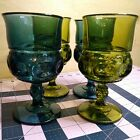 VINTAGE INDIANA GLASS KINGS CROWN THUMBPRINT SET OF 4 GLASS GOBLETS BLUE  GREEN