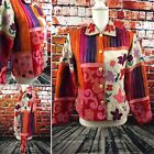 Sandy Starkman Womens Small Silk Embroidered Jacket Funky Colorful Patchwork