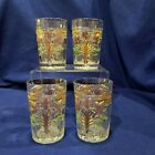 EAPG Indiana Glass 4 Narcissus Spray Tumblers 1917 Ruby Stained Flowers and Gold