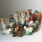 Vintage Plaster Chalkware Hand Painted Nativity Baby Jesus Holy Family 1950s Set