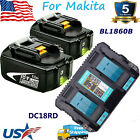 BL1860B For Makita 18V 60Ah Lithium ion LXT BL1830 BL1850 Charger or Battery US