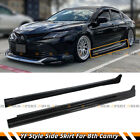 For 18 2021 8th Gen Toyota Camry Painted Gloss Black Side Skirt Extension Panel