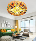 Retro Colorful Stained Glass Ceiling Light Hand Made Flush Mount Chandelier