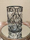Vintage Hand Blown Heart Shaped Caged Glass Vase