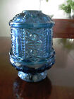 Vintage Indiana Glass Blue Star and Bars Fairy Lamp Candle Holder Antique