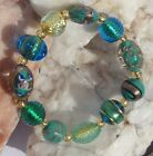 Made in ITALY MURANO Blue Green and Golden GLASS BEADS Stretch Fit BRACELET NEW