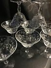 Vintage Etched Glass Flower  Leaves Design Stemware Dessert Or Cordial Set Of 9