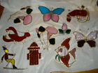 LOT OF 10 Stained Glass Metal window Suncatcher ORNAMENTS