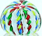 VIBRANT Colorful JOHN DEACONS Crown ART Glass PAPERWEIGHT w Latticino Ribbons