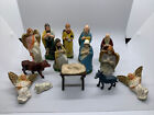 Vintage 14 Pc Nativity Set Figures Stamped Japan Hand Painted MIX LOT INCOMPLETE