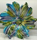 Blue Green Glass Luster Floral Decorative Bowl Platter Dish Luster 15 Italy New