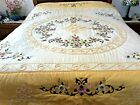 Comforter Quilt Embroidered Floral Accents w rick rack Queen King Size