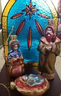 Waterford Holiday Heirlooms NATIVITY STAINED GLASS VOTIVE ORNAMNETS 130854