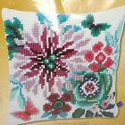 Flower Paradise II Butterfly Cross Stitch Pillow Cover Blue Pink Floral 0154266