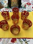 7 VTG MCM CULVER LTD Red Gold Paisley Rock Low Ball Old Fashioned Glasses