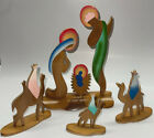 Vintage Nativity Wooden Colorful Cutout Scene With Three Wiseman Camels ISSUE