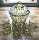 Vintage Walther Bubble Glass Punch Bowl Covered 5 Glasses Excellent Condition