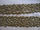10 1 2 YDS HEAVY BLACK AND GOLD METALLIC SCROLL VENISE LACE GALLOON