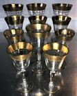 Wine Cocktail Goblets Glasses Set 11 Gold Trim Mid Century Modern 3 sizes